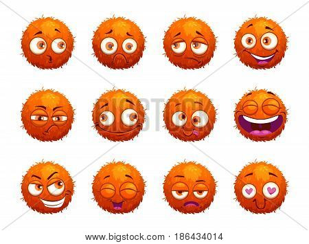 Funny orange round characters set. Cartoon emotion stickers on white background. Vector illustration.
