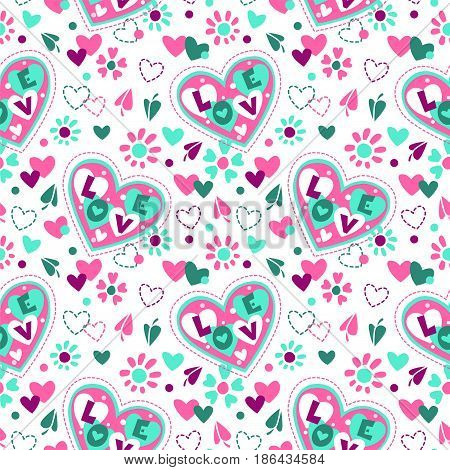 Cute girlish seamless pattern with flowers and hearts on white background.