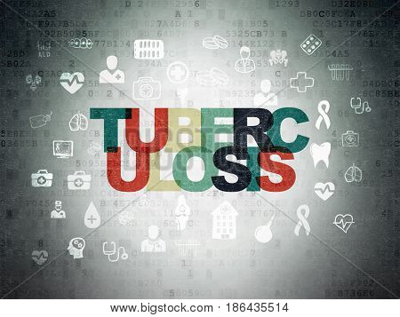 Healthcare concept: Painted multicolor text Tuberculosis on Digital Data Paper background with  Hand Drawn Medicine Icons