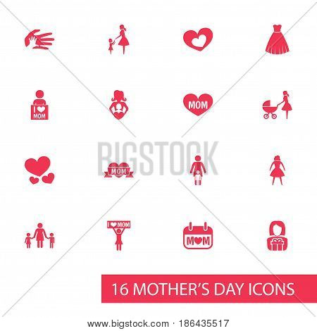 Mothers Day Icon Design Concept. Set Of 16 Such Elements As I Love Mom, Placard And Heart. Beautiful Symbols For Gown, I And Evening.