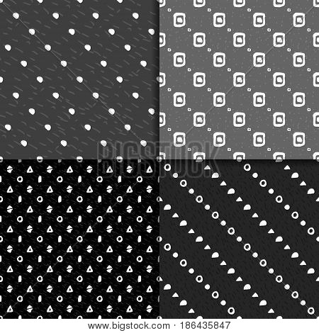 Abstract hand drawn seamless pattern set. Black and white grunge background with simple geometric shapes.