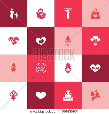 Mothers Day Icon Design Concept. Set Of 16 Such Elements As Nanny, Mam And Kid. Beautiful Symbols For Design, Text And Decoration.