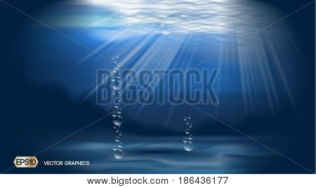 Blue Water bubbles Deep ocean background ads template. 3D Realistic Vector illustration