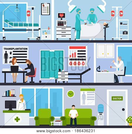 Transplantation horizontal compositions with patients and doctors in hospital interiors and operating room flat vector illustration