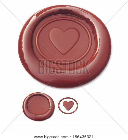 Red wax seal with heart. Vector illustration