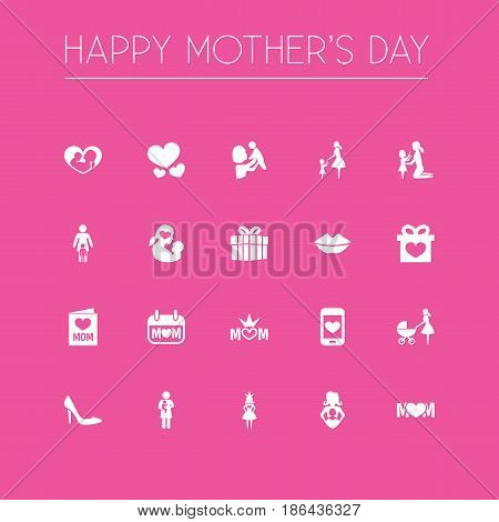 Mothers Day Icon Design Concept. Set Of 20 Such Elements As Daughter, Kid And Stroller. Beautiful Symbols For Playing, Gift And Mom.