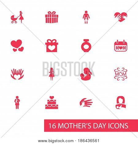 Mothers Day Icon Design Concept. Set Of 16 Such Elements As Protect, Holiday And Present. Beautiful Symbols For Holiday, Love And Ribbon.