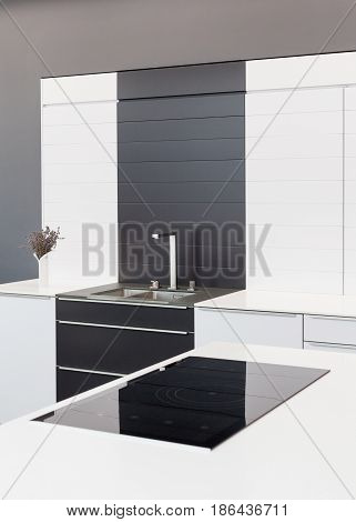 New modern black and white kitchen with chrome water tap and rectangular designer kitchen sink