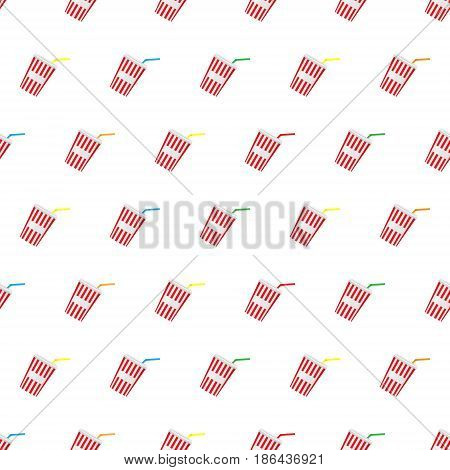 Seamless pattern summer beach cold drinks background with template in swatches for your convenience. Easy to use. Cartoon flat style illustration.