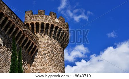 Ancient medieval and renaissance tower of fortress Rocca Pia in the center of Tivoli near Rome