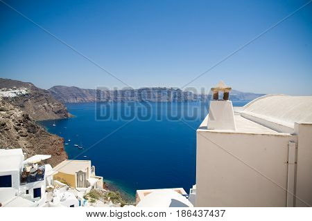 Santorini island, viewpoint from Oia village, Santorini, Greece