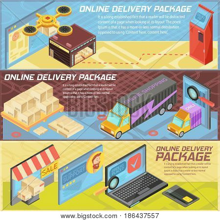 Goods online delivery horizontal isometric banners with internet shopping, packages, warehouse, transportation, mobile devices isolated vector illustration
