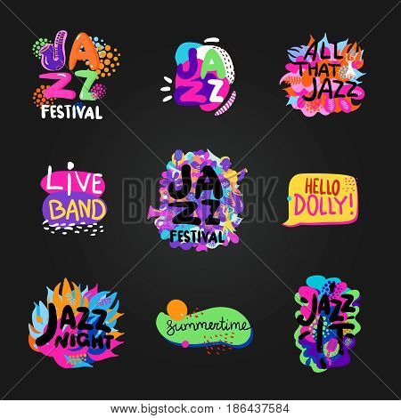 Colorful flat set of bright jazz festival themes isolated on blackboard background vector illustration