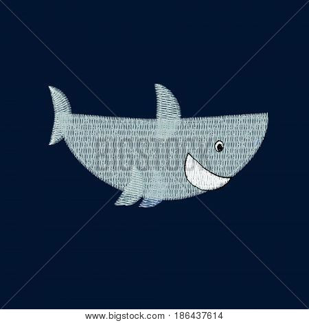 Shark patch embroidery, vector illustration of sea animal, cute character of uderwater life, decorative element for baby, children clothes, things.