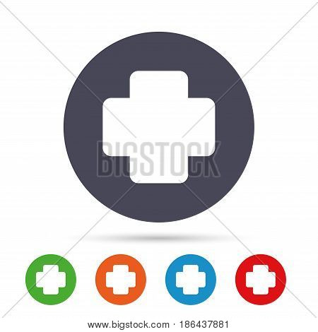 Medical cross sign icon. Diagnostics symbol. Round colourful buttons with flat icons. Vector