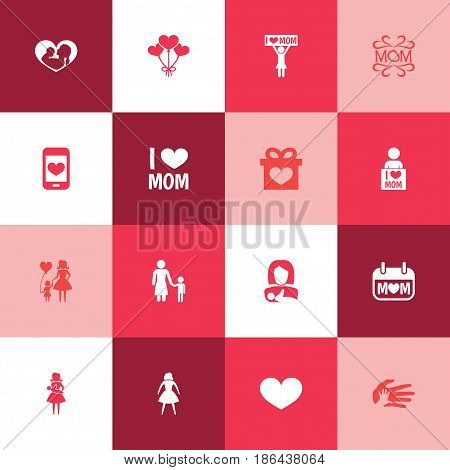 Mothers Day Icon Design Concept. Set Of 16 Such Elements As Cellphone, Mother And Soul. Beautiful Symbols For Day, Baby And Son.
