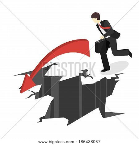 Isometric Businessman Running Into The Abyss. Man Is Facing Difficulties.