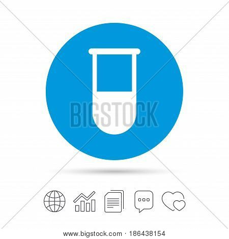 Medical test tube sign icon. Laboratory equipment symbol. Copy files, chat speech bubble and chart web icons. Vector