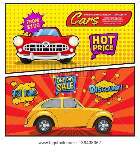 Sales of cars comic style banners with discount, speech bubbles on pop art background isolated vector illustration