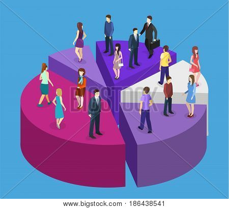 Isometric Flat Business People Stand On Pie Diagram Success