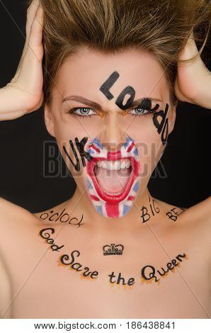 Emotional woman with english face art black background