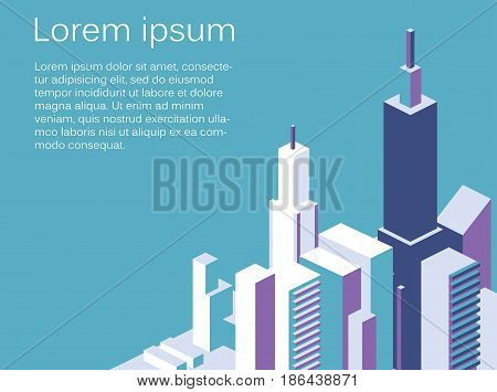 Isometric Flat 3D Isolated Concept Vector City Three-dimensional Summer Town Quarter.