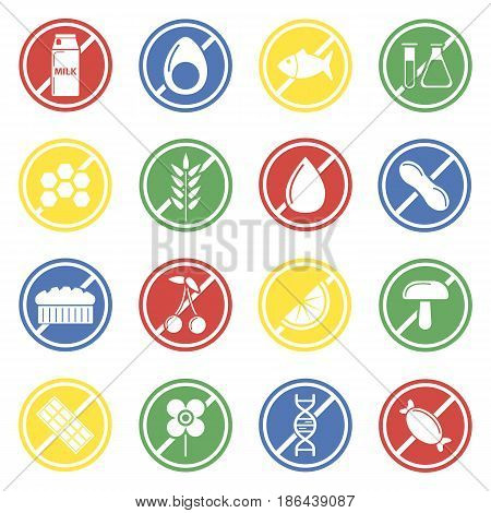 Allergen labels colorful vector collection isolated on white. Circles with light crossed food products forbidding people consume allergic food. Warning round symbols for human with allergy.
