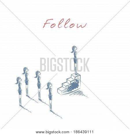 Businesswoman leadership business vector concept. Business woman standing on top of stairs as a leader. Eps10 vector illustration.