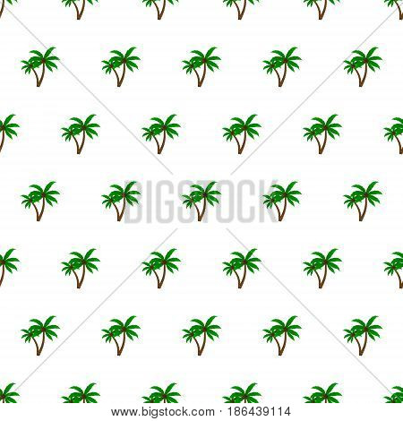 Seamless pattern summer beach palm tree background with template in swatches for your convenience. Easy to use. Cartoon flat style illustration.