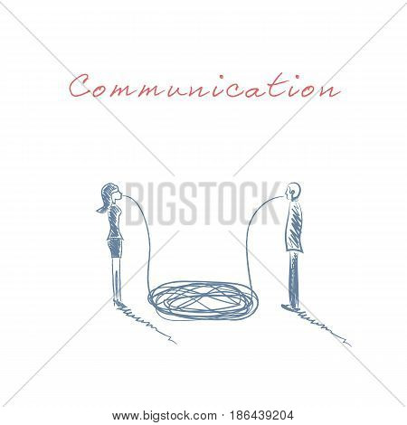 Business concept of communication and misunderstanding between business man and woman. Communication breakdown between genders. Eps10 vector illustration.