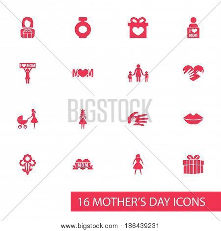 Mothers Day Icon Design Concept. Set Of 16 Such Elements As Gift, Design, Hands. Beautiful Symbols For I, Helping And Love.