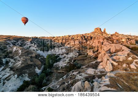 Top View Of Uchisar Town And Castle At Sunrise. Cappadocia. Turkey