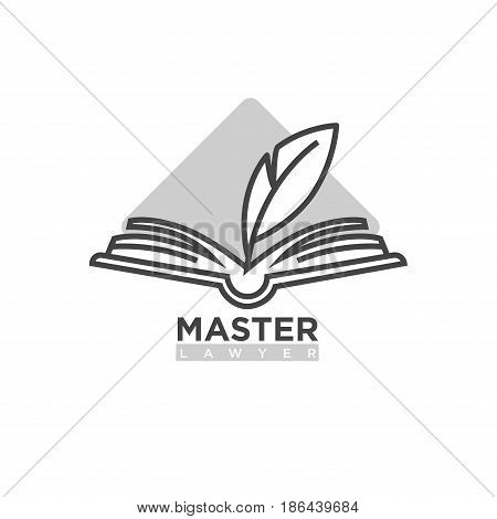Master lawyer company black and white logotype. Open book with feather pen silhouette, paper document and grey triangle behind isolated vector illustration with firm name sign on white background.