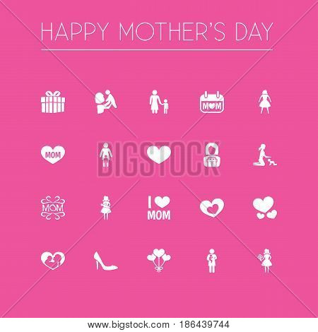 Mothers Day Icon Design Concept. Set Of 20 Such Elements As Holiday, Kid And Infant. Beautiful Symbols For Love, Balloon And Infant.