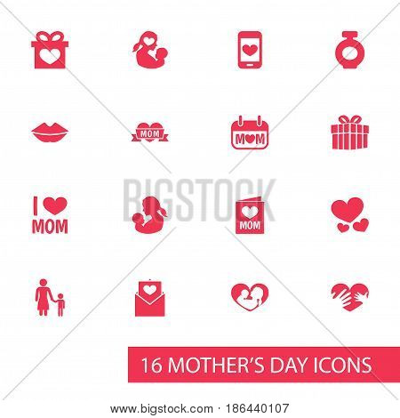 Mothers Day Icon Design Concept. Set Of 16 Such Elements As Holiday, Madame And Infant. Beautiful Symbols For Fragrance, Envelope And Love.
