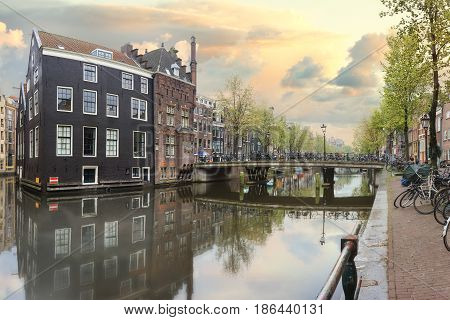 Canals of Amsterdam. Moody morning at Rossebuurt district