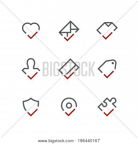 Checkmark outline vector icon set - heart, envelope, document, person, credit card, price tag, shield, address and puzzle with tick or checkbox symbols. Contacts and business signs.