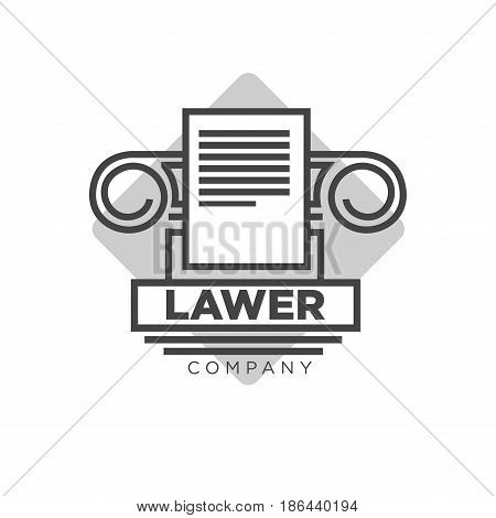 Fair lawyer company black and white logotype. Antique Greek pillar outline, paper document and grey rhombus behind isolated vector illustration with thick firm name sign on white background.