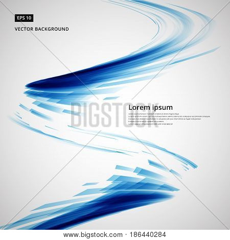 abstract blue lines storm whirl curve circle swirl technology vector illustration element copy space