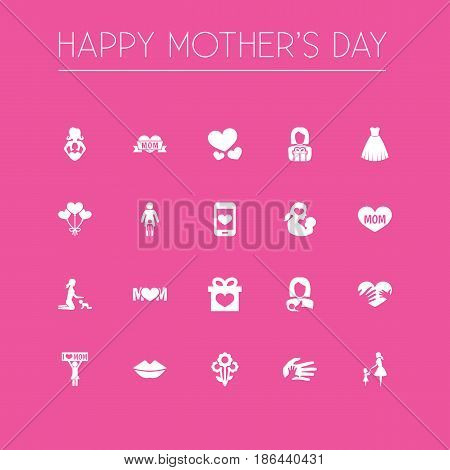 Mothers Day Icon Design Concept. Set Of 20 Such Elements As Mouth, Helping And Relations. Beautiful Symbols For Newborn, I And Heart.