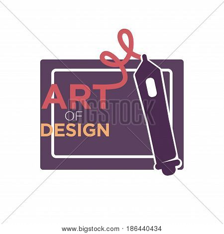 Art of design colorful logo label isolated on white. Hand drawn badge consisting of dark square and pencil drawing company name vector illustration in flat style. Beauty creativity template.