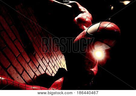LAS VEGAS, USA - Oct 29, 2016: Close up Spiderman, Madame Tussauds museum in Las Vegas.