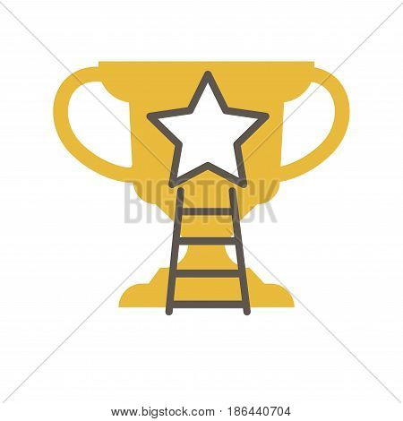 Golden award cup with star in the middle and ladder vector illustration logotype isolated on white background. Going to success concept, reward emblem and way how to achieve win in flat style