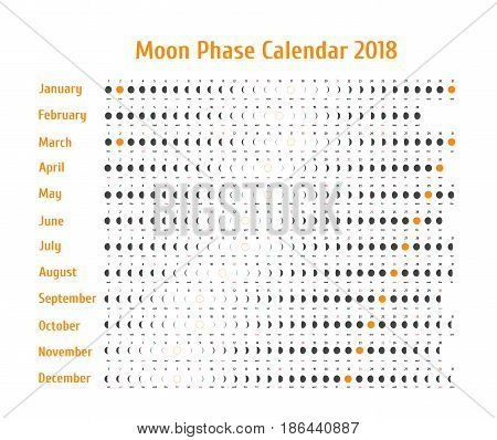 Vector astrological calendar for 2018. Moon phase calendar for dark gray on a white background. Creative lunar calendar with dates and days of the week on a white background ideas for your design