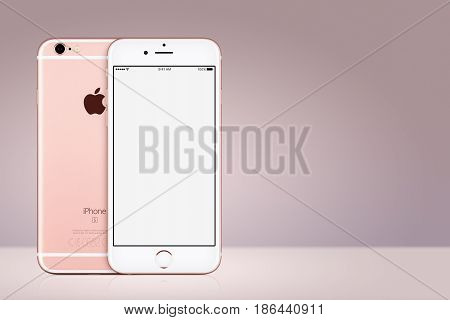 Varna, Bulgaria - March 10, 2016: Rose Gold Apple iPhone 7 with white blank screen mockup front view and back side on pink gradient background with copy space. Quick mockup for your design.