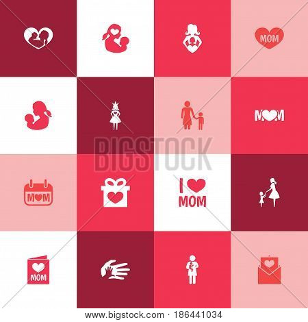 Mothers Day Icon Design Concept. Set Of 16 Such Elements As Text, Madame And Present. Beautiful Symbols For Princess, Ribbon And Infant.