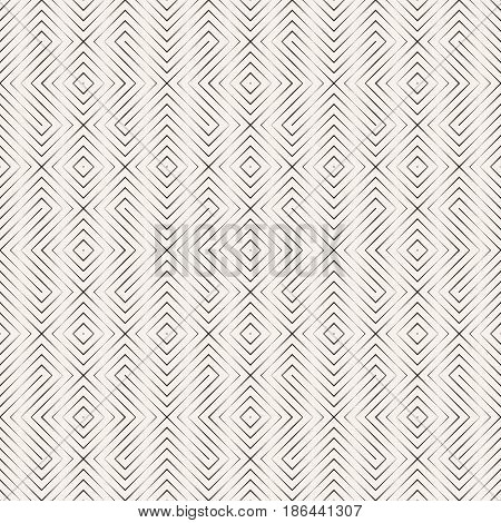 Vector seamless pattern. Stylish minimal abstract geometric background. Modern linear texture with thin lines. Regularly repeating geometrical tiled grid with rhombuses diamonds crosses. Outline.