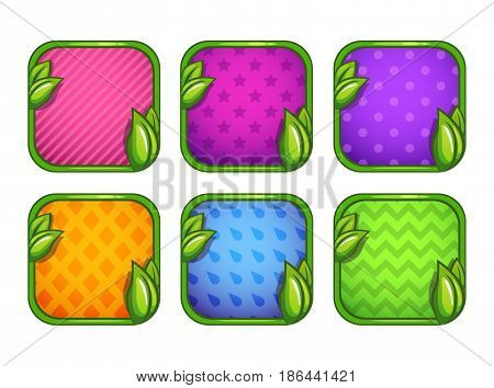 Colorful app icons with different patterns. Vector assets for web or game design.