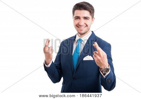Cheerful Salesman Smiling And Doing Good Luck Gesture
