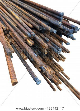 Pile of rebar (fittings metal rods) for reinforced concrete structures closeup isolated over white